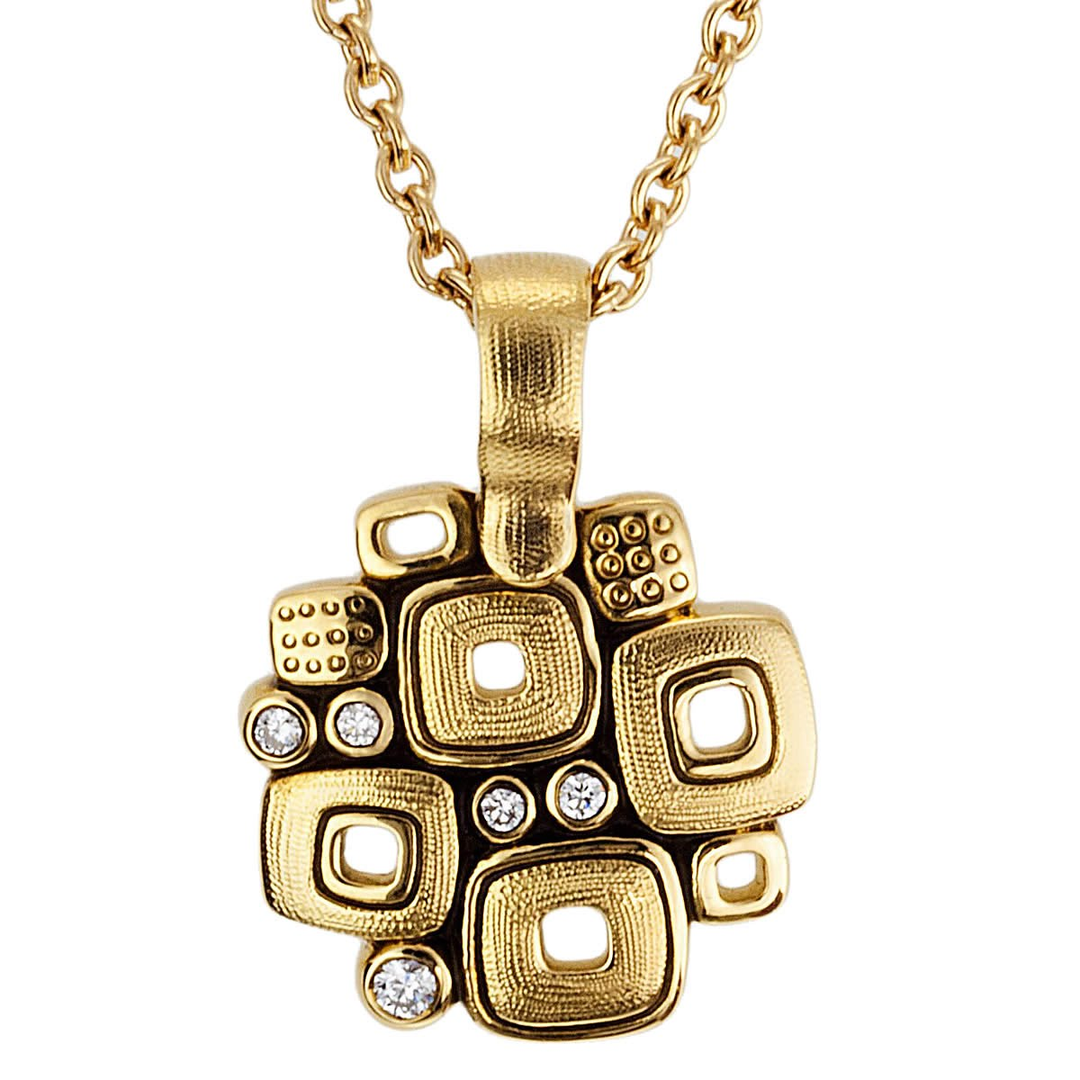 M-59 Alex Sepkus Little Windows pendant necklace 18k yellow gold diamonds