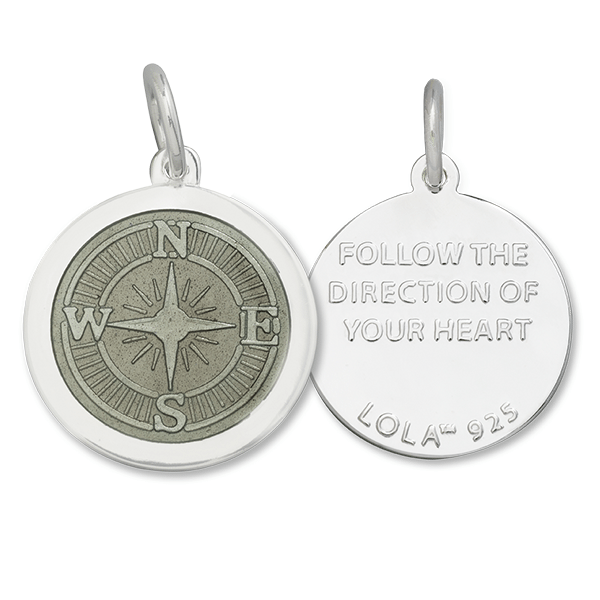 Follow The Direction Of Your Heart LOLA compass rose pendant pewter enamel center, 925 sterling silver compass rose pendant, silver Backside compass rose Nantucket Provincetown Jewelry