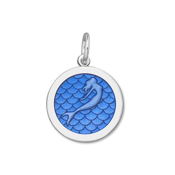 Lola mermaid pendant periwinkle enamel medium