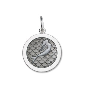 Lola mermaid pendant pewter enamel medium