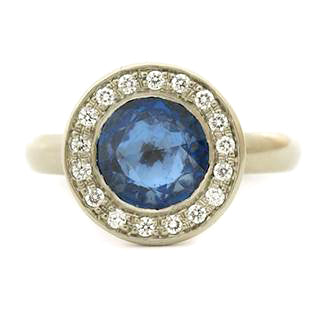 anne sportun modern sapphire halo ring one of a kind design michaels jewelry cape cod in provincetown fine jewelry # R395GD design