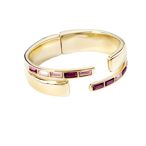 nightbird wrap bracelet UNOde50 gold tone with purple Swarovski crystals made in Spain