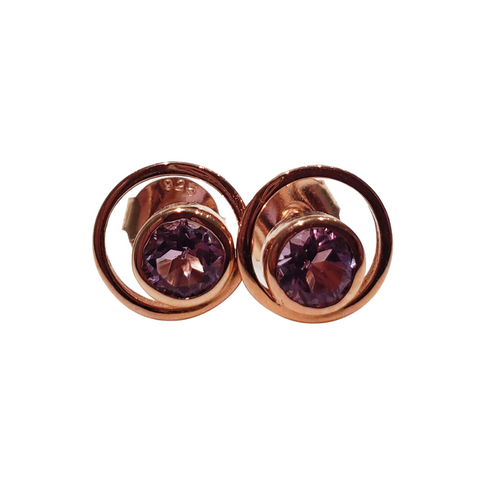 Orbit Stud Earrings - Amethyst