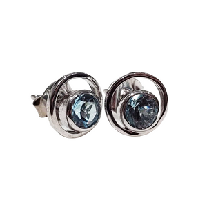 blue topaz orbit earrings 925 sterling silver