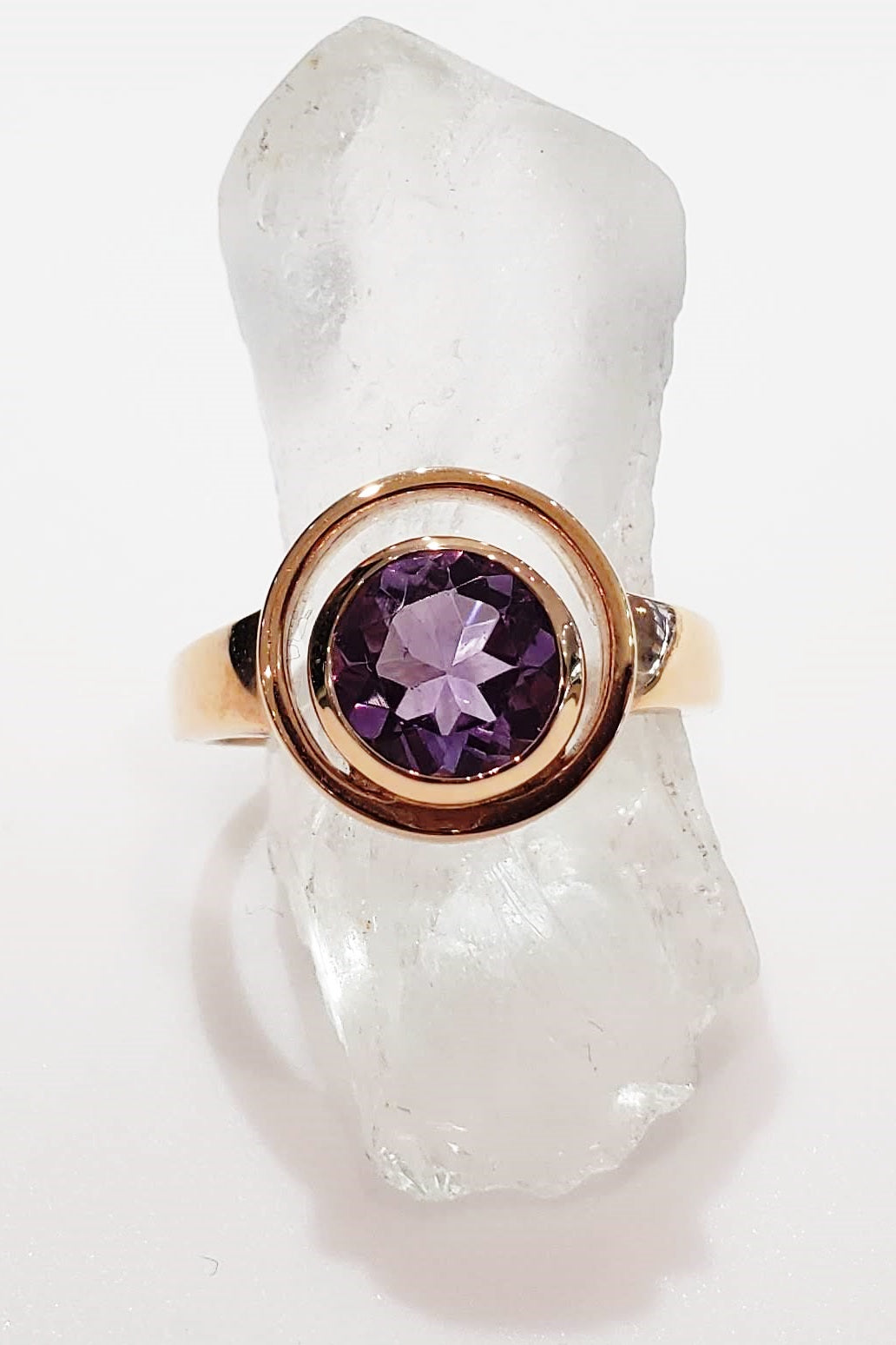 orbit ring in rose gold-filled sterling silver and purple amethyst