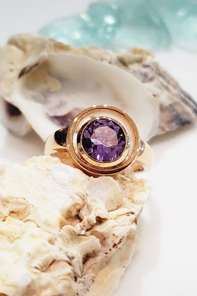"rose gold-filled ""Orbit"" ring with amethyst"