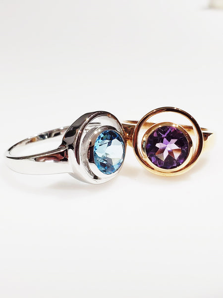 """Orbit"" ring in amethyst and blue topaz"
