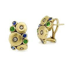 orchard earrings alex sepkus e100 diamond sapphire tsavorite 18k gold earrings michaels jwelry cape cod jeweler provincetown