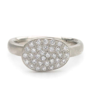 Anne Sportun Pebble ring pave set diamonds on 14k white gold disc