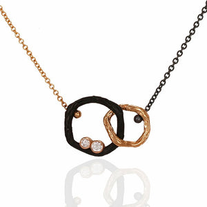 Pebble Small Diamond Double Link Necklace 18k rose gold and oxidized cobalt chrome