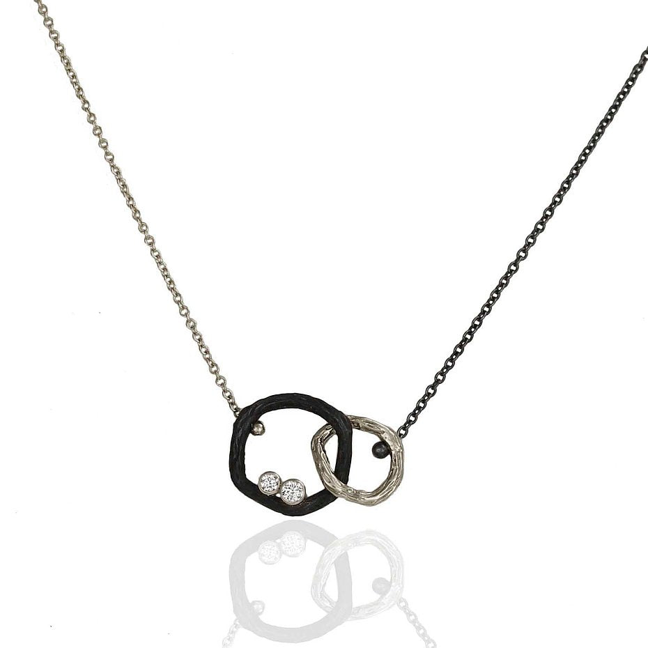Pebble Small Diamond Double Link Necklace 18k white gold and oxidized cobalt chrome