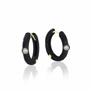 pebble hoop earrings 18k gold and oxidized chrome
