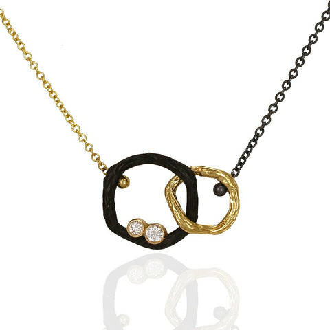 Pebble Small Diamond Double Link Necklace 18k yellow gold and oxidized cobalt chrome