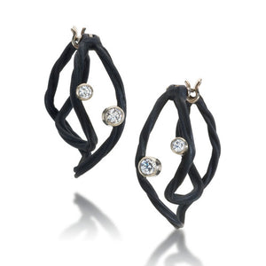 sarah graham cover earrings black cobalt chrome with 18k white gold