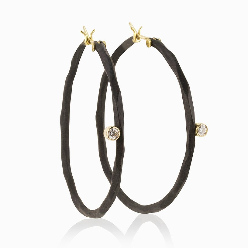 medium hoop earring sarah graham 18k gold oxidized cobalt chrome