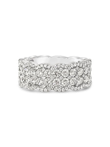 14k white gold scalloped ring with diamonds