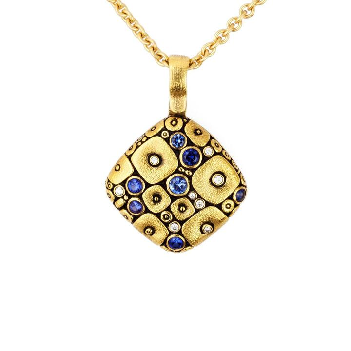 m46s alex sepkus soft mosaic pendant sapphire blue mix diamond 18k gold handmade necklace michaels custom jewelers cape cod