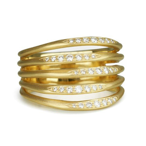 18k yellow gold band with diamonds stacked five row flow band anne sportun