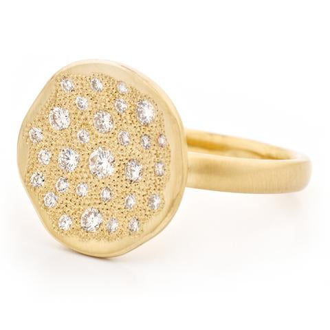 Stardust Disc Ring - 18k Yellow Gold and Diamonds