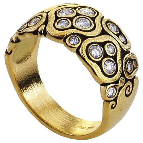 swirling water 18k yellow gold diamond ring r-86D