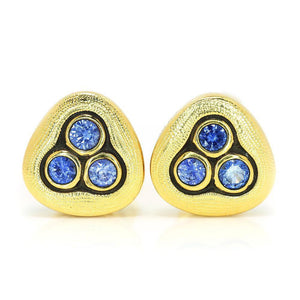 blue sapphire mix alex sepkus swirling water earrings studs 18k yellow gold