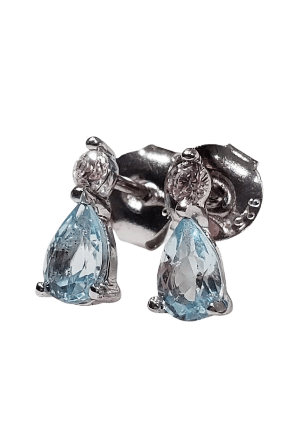 teardrop stud earrings made of 925 sterling silver and blue topaz