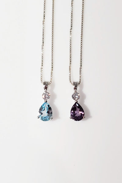 teardrop pendant necklace in blue topaz and amethyst