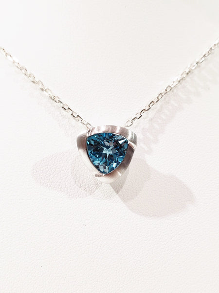 trilliant cut blue topaz sterling silver necklace made by hand