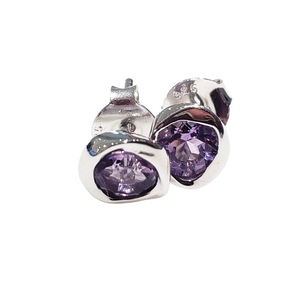 925 sterling silver amethyst stud earrings