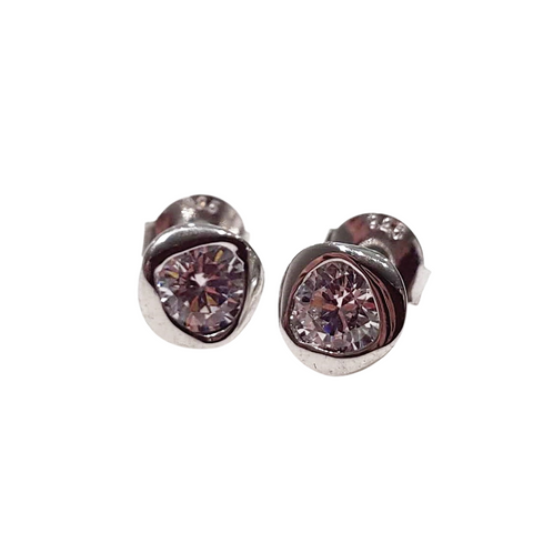 twirl stud earrings 925 sterling silver with white topaz