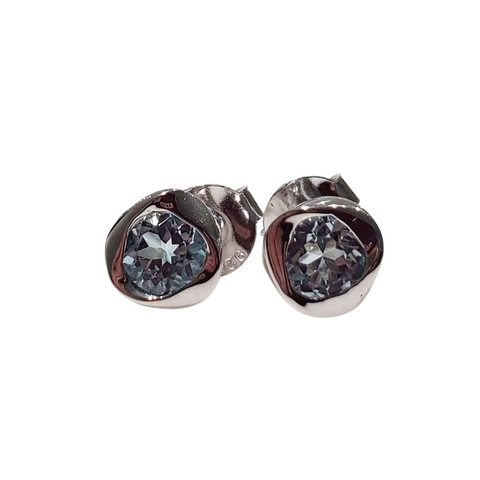 twirl stud earrings 925 sterling silver with blue topaz