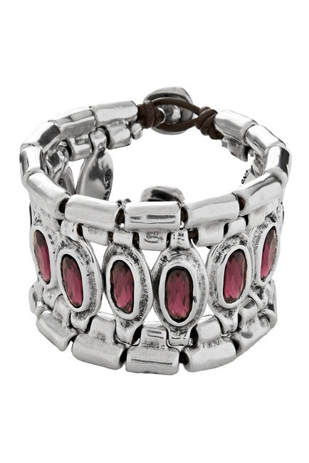 silver tone purple crystal Armor bracelet UNOde50 handmade in Spain jewelry