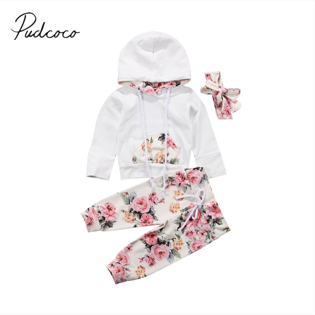 ad7d519f03b3e 2018 Brand New Infant Toddler Newborn Baby Girls Floral Outfit Clothes  Tracksuit Hooded Tops+Leggings