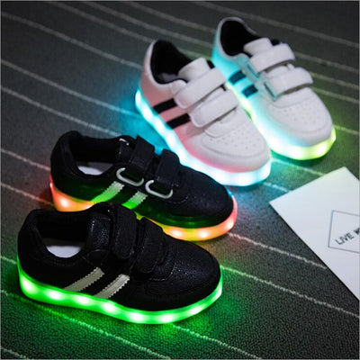 10a05ba1c Fashion Led Kids Sneakers Children s USB Charging Luminous Lighted Sneakers  Boy Girls Colorful LED lights