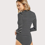 Mock Neck Slim Black and White Striped Bodysuit Three Quarter