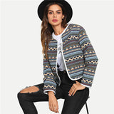 Multicolor Contrast Binding Geometric Jacquard Blazer Tribal Long
