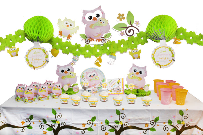 owl themed baby shower decorations, owl themed baby shower kit, look who's having a baby