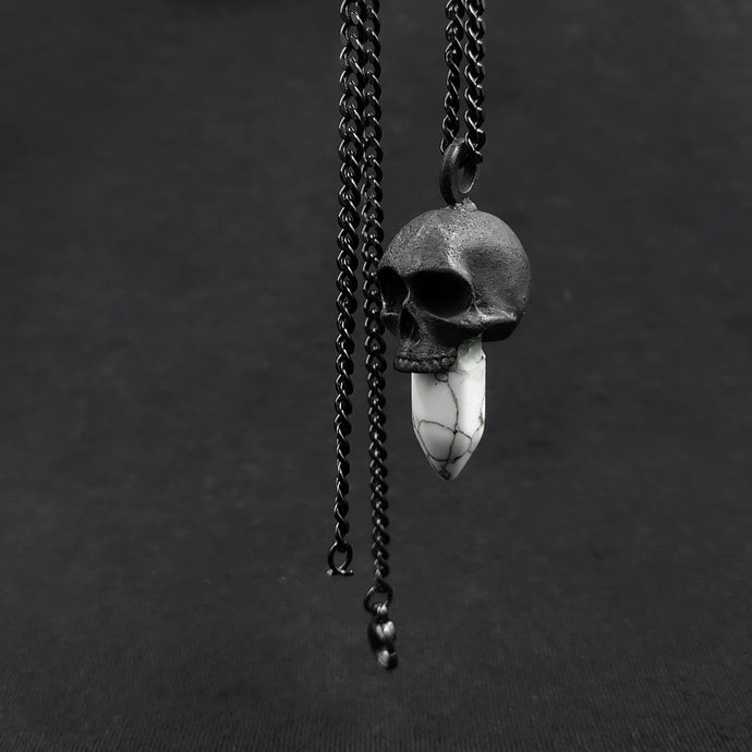 Collar Skull Quartz White