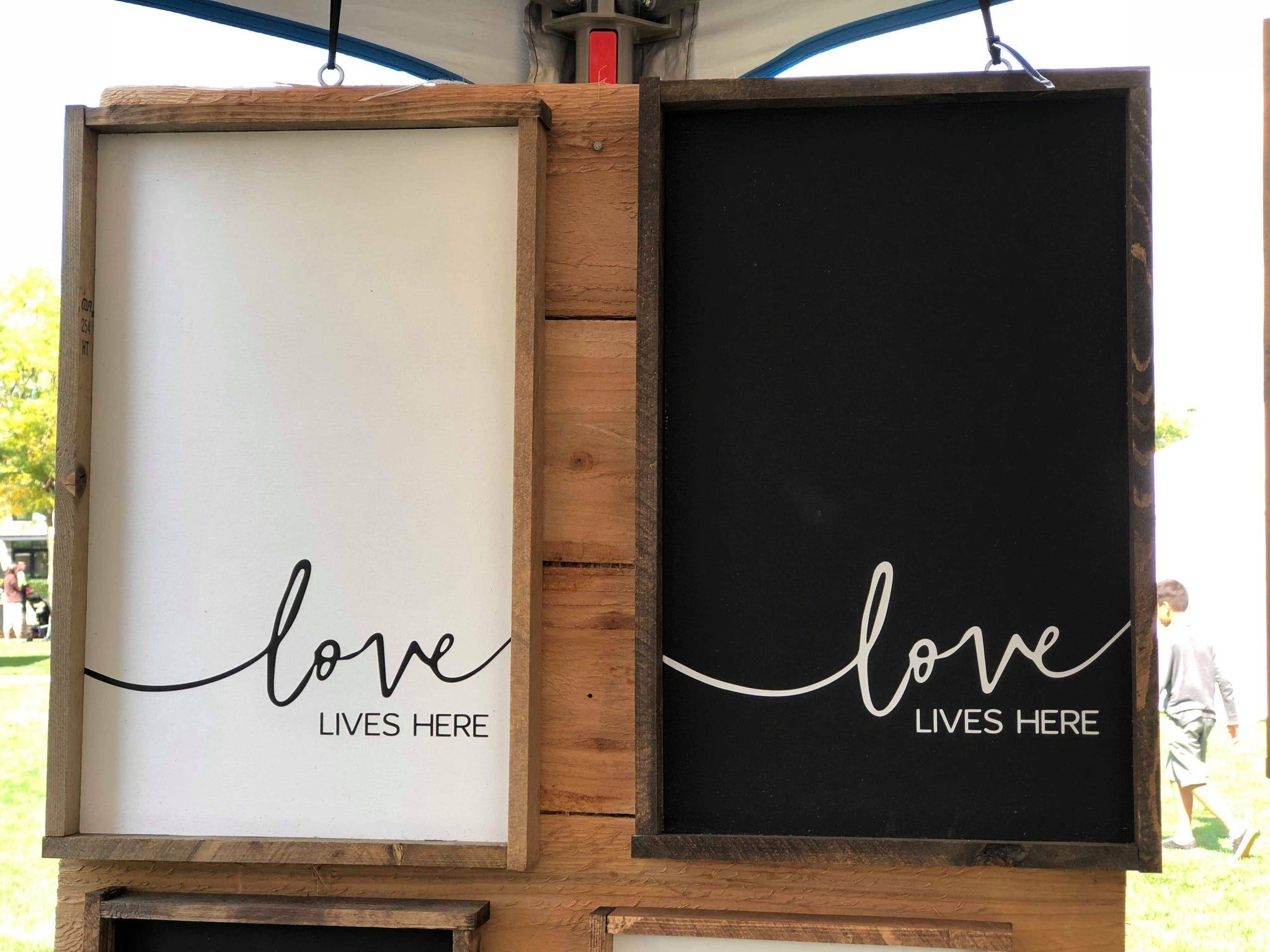 Love Lives Here, 10x16, wood sign