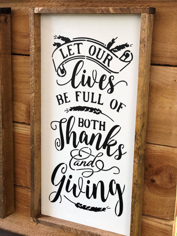 Thanks and Giving, 8x16, fall, wood sign