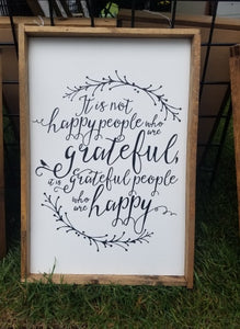 Grateful People Who Are Happy, 12x18, fall, wood sign
