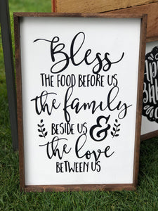 Bless The Food The Family The Love, 12x18, fall, wood sign