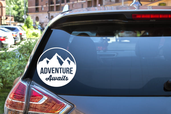 Adventure Awaits, 5 inch, outdoor, vinyl decal
