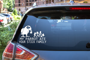 My Parrot Ate Your Stick Family, 7 inch, animal, parrot, vinyl decal