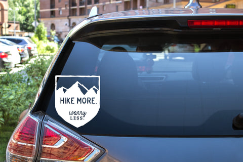 Hike More Worry Less - Road Sign, 5 inch, outdoor, vinyl decal