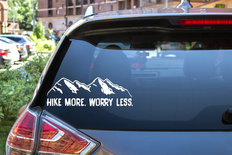 Hike More Worry Less Mountains, 5 inch, outdoor, vinyl decal