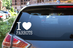 I Heart Parrots NY Font, 5 inch, animal, parrot, vinyl decal