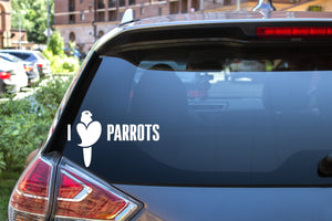 I Heart Parrots, 5 inch, animal, parrot, vinyl decal