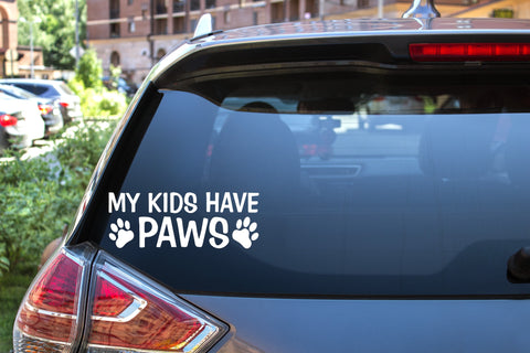 My Kids Have Paws, 5 inch, animal, vinyl decal