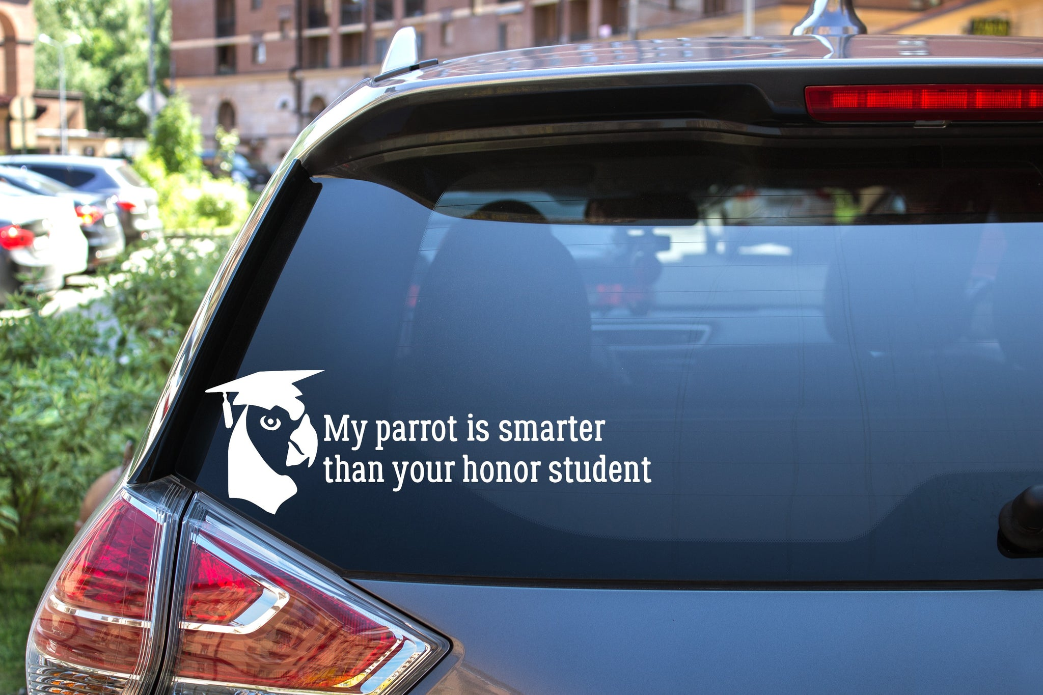 My Parrot Is Smarter Than Your Honor Student, 5 inch, animal, parrot, vinyl decal